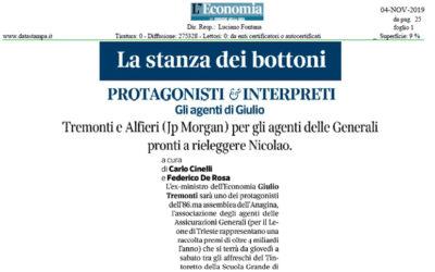 Tremonti e Alfieri (JP Morgan) per gli Agenti delle Generali pronti a rieleggere Nicolao