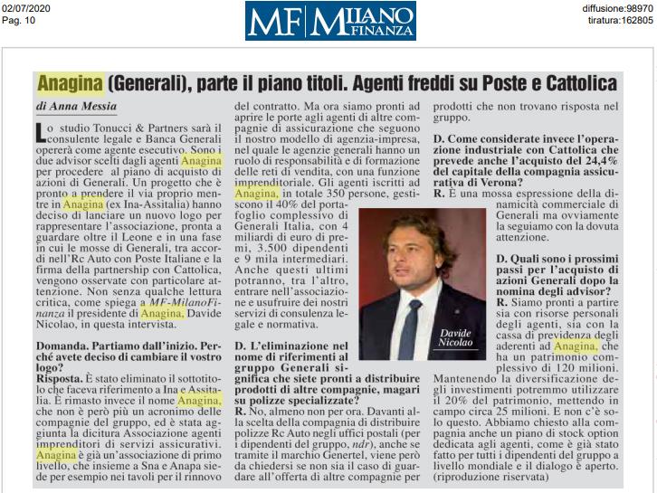 87^Assemblea Anagina – Intervista al Presidente Davide Nicolao (MILANO FINANZA)